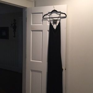 Black formal dress with plunging back